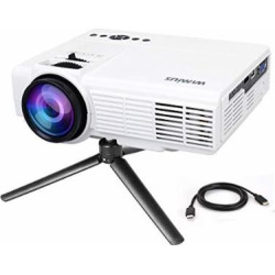 Projector by WiMiUS +20% Lumens Portable LCD Video Projector Support 1080P with Free HDMI Cable and Tripod Compatible with TV Stick Xbox Laptop iPhone Smartphones for Home Cinema-White