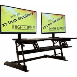 Standing Desk Height Adjustable Stand – Up Sit Stand Desks Converter Standup Workstation Fits Big Monitors 36″ Wide (Black)