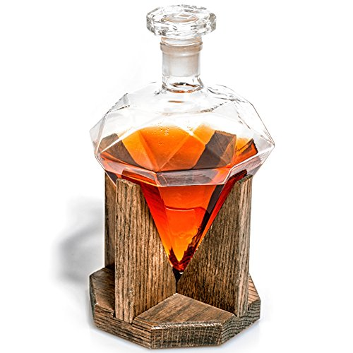 Diamond Liquor Decanter – Scotch Whiskey Decanter – 1000ml Decanter for Alcohol – Vodka, Bourbon, Rum, Wine, Whiskey, Tequila or Even Mouthwash – Glass Cullinan M Decanter from Prestige Decanters