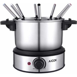 Electric Fondue Maker 1500W Stainless Steel Electric Fondue Pot, Temperature Control Fondue Maker Set with Nonstick Interior include 8 Stainless Steel Fondue Forks