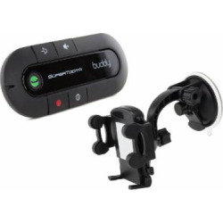 SuperTooth Buddy 2.1 Handsfree Bluetooth Visor Speakerphone Car Kit with Universal In-Car Smartphone Suction Holder for iPhone 3G/3GS/4/4S/5/5S/5C and Samsung Galaxy S3/S4 – Black