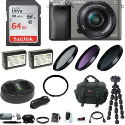 Sony Alpha a6000 Camera w/ 16-50mm Lens & 64GB Accessory Bundle – Graphite