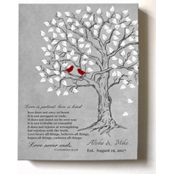 MuralMax Personalized Family Tree & Lovebirds, Stretched Canvas Wall Art, Make Your Wedding & Anniversary Gifts Memorable, Unique Decor, Color Gray # 2-30-DAY – Size – 20×24