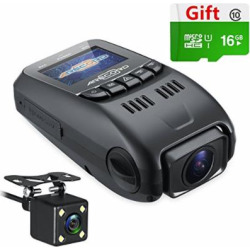 ARECORD B40D Dual Camera Dash Cam, Front and Rear Dual Channel Car Camera Recorder with Capacitor Night Vision 1080P WDR G-Sensor Loop Recording Motion Detect (16G Card Included)