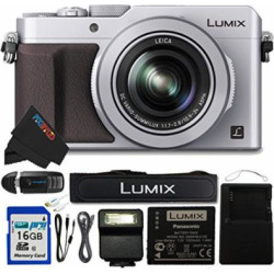 Panasonic PANLX100SL-16GB4PC 16.8 Digital Camera with Optical Image Stabilized Zoom and 3″ LCD (Silver)