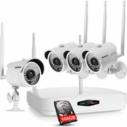 ANNKE 4CH 960p NVR and (4) 1.0MP Wireless Security Cameras, 500GB HDD Pre-installed, 720p Smart Outdoor IP Cameras with 100ft Night Vision, IP66 Weatherproof