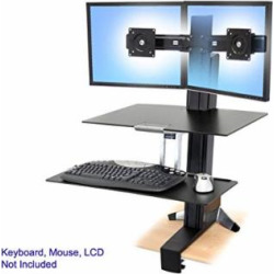 """Ergotron, Workfit-S Dual With Worksurface+ Stand ( Tray, Desk Clamp Mount, Pivot, Column, Crossbar ) For 2 Lcd Displays / Keyboard / Mouse Black, Polished Aluminum Screen Size: Up To 22″ Mounting Interface: 100 X 100 Mm, 75 X 75 Mm """"Product Category:…"""