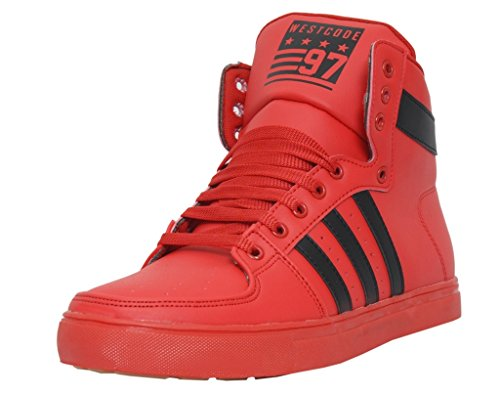 West Code Men's Boots Synthetic Leather Casual Shoes and Sneakers 6030-Red-9