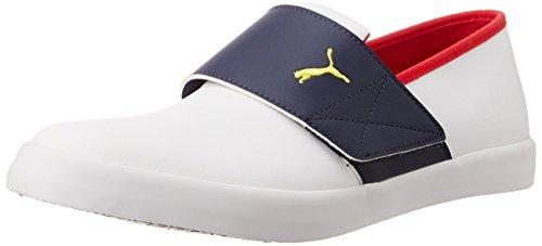 Puma Unisex El Rey Milano II DP White, Navy Blue, High Risk Red and Dandelion Sneakers – 9 UK
