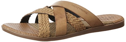 Red Tape Men's Tan Leather Slippers – 8 UK/India (42 EU)