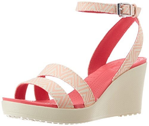 Crocs Women's Leigh Graphic Wedge W Melon and Stucco Canvas Ballet Flats – W6
