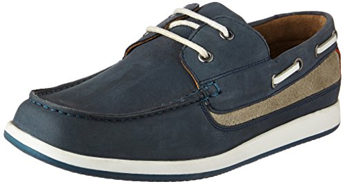 Louis Philippe Men's Navy Leather Boat Shoes – 10 UK/India (44 EU)