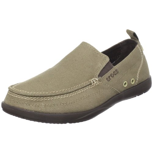 Crocs Men's Walu Khaki and Espresso Canvas Loafers and Mocassins – M11