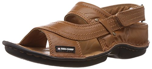 Red Chief Men's Tan Leather Sandals & Floaters (RC0247) – 10 UK