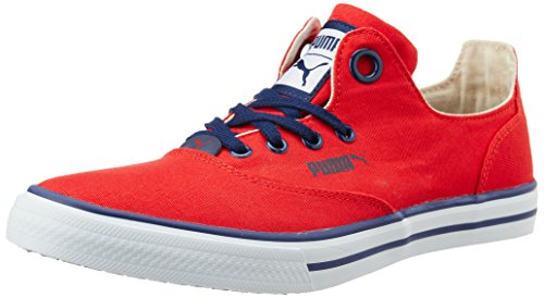 Puma Unisex Limnos CAT 3 DP High Risk Red, White and Peacoat Canvas Sneakers – 10 UK