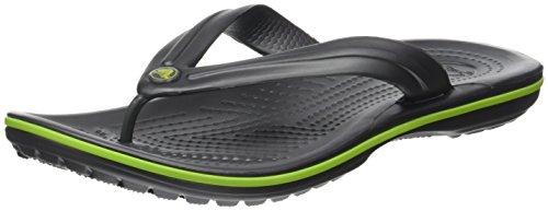 crocs Women's Crocband Flip Flop, Graphite/Volt Green, 8 M US