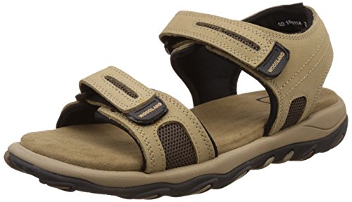 woodland mens khaki leather sandals and floaters 7 ukindia 41 eu -
