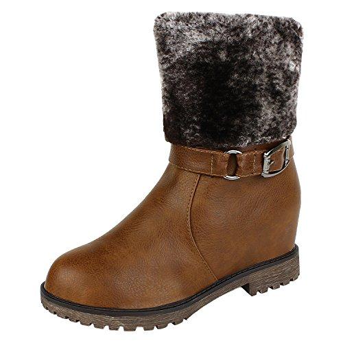 Authentic Vogue Women's Ankle-Length Wedge Heel Camel Colour Boots 41 EU