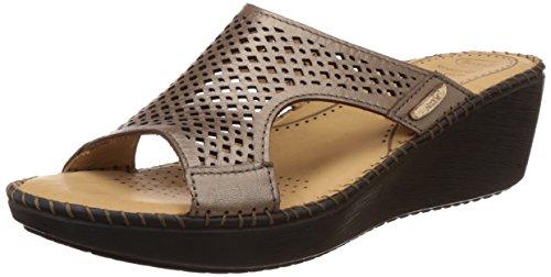 Dr. Scholls Women's Laser Mule Wedge Beige Leather Slippers – 6 UK/India (39 EU)(7748916)
