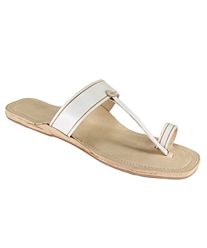 eKolhapuri White Color Flat Heel Ladies authentic handmade genuine leatherkolhapuri Sandal