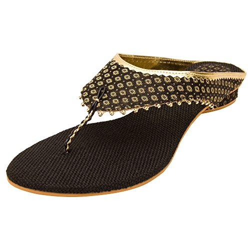 Footrendz Women's Ethnic Appealing Black Fabric Heels (37 EU)