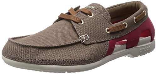 Crocs Men's Beach Line Lace-up Boat M Walnut and Stucco Canvas Sneakers – M8