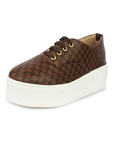Do Bhai Van-Print Fashionable, Stylish & Smart Casual Sneakers for Women (EU38, Brown)