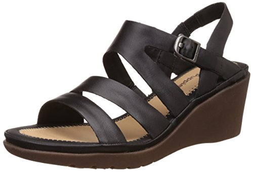 Hush Puppies Women's Giving Russo Black Leather Fashion Sandals – 6 UK/India (39 EU)(6646142)