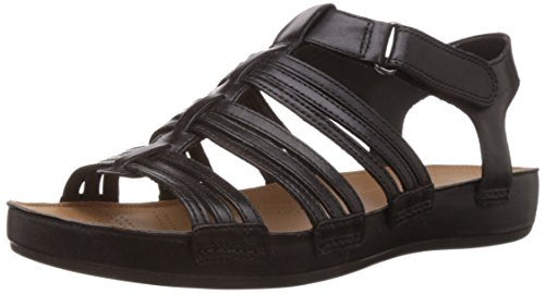 Clarks Women's Raspberry Chic Black (Fit D) Leather Fashion Sandals – 5 UK