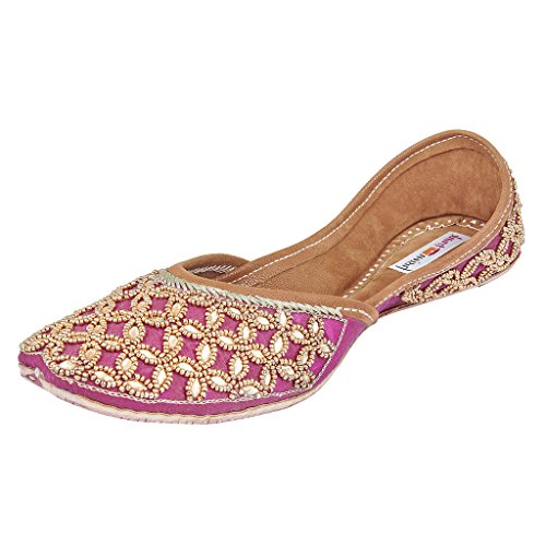 Fusion Trunk Festivity Women's Pink Embroidered Wedding Leather Juttis – 39 EU