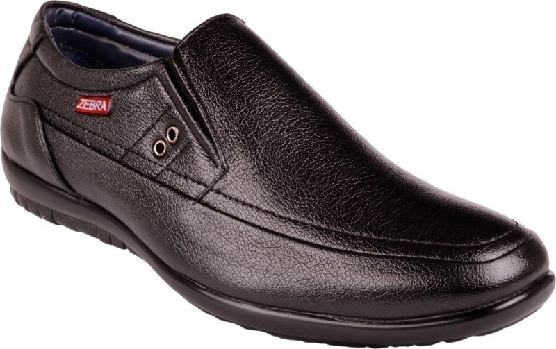 Zebra Italiano Slip On Shoes(Black)