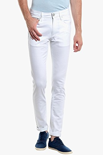 Calcium White Mens Copperstone Skinny Fit Jeans