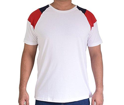 Elitefactor Men's Stylish Multicolour Cotton Round Neck T-shirt – White, Red & Navy Blue