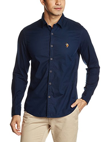 US Polo Men's Casual Shirt (8907378322944_USSH4401_XXX-Large_Navy)