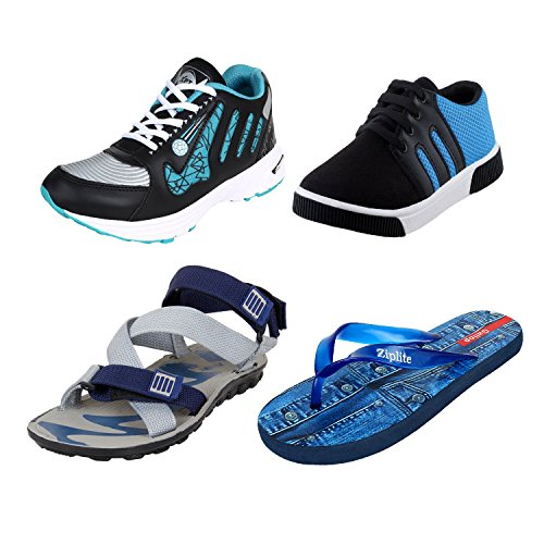 Bersache Men Combo Pack of 4 Sports With Casual Shoes,Sandal & Flip-Flops (10 UK)