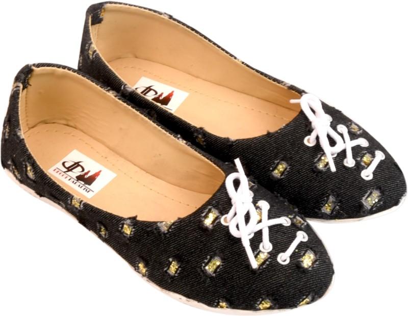 Decot Paradise Trendy and classy black denim ballet flats Sneakers(Black)