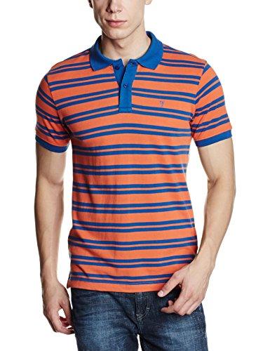 Van Heusen Men's Polo (8907485135093_VHKP516M00159_Large_Orange and Medium Blue)