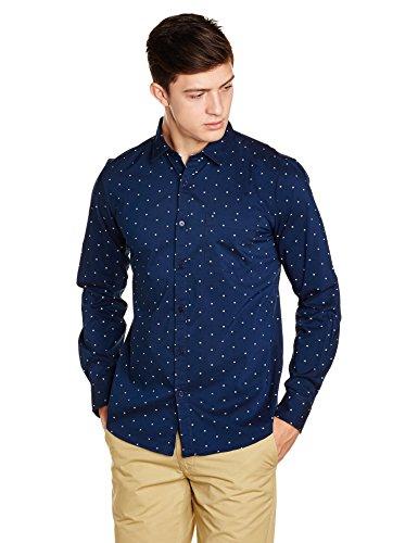 Symbol Men's Regular Fit Casual Shirt (AW17MCS123_XX-Large_Navy)