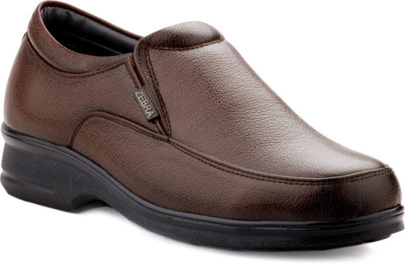 Zebra Men's Regular 100% Pure s.Leather New Edition Brown Formal Shoes. Slip On(Brown)