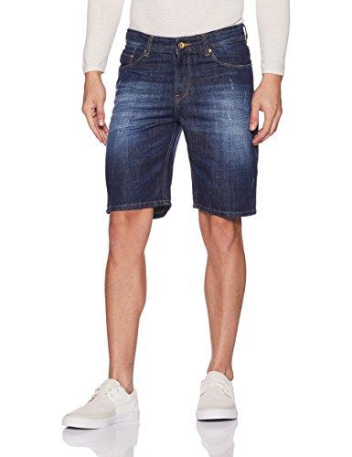 Symbol Men's Denim Shorts (AD-SHR-99_32_Dark Blue)
