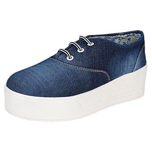 SNUG 0017 Fashionable Smart Casual Canvas Shoes for Women (EU37, Blue)