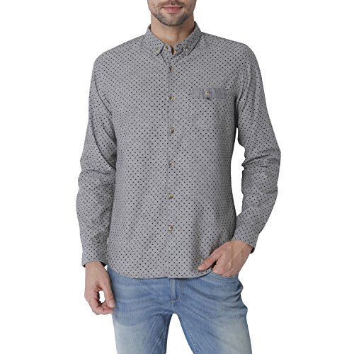 Urban Scottish Men's Grey Cotton Slub Printed Shirt