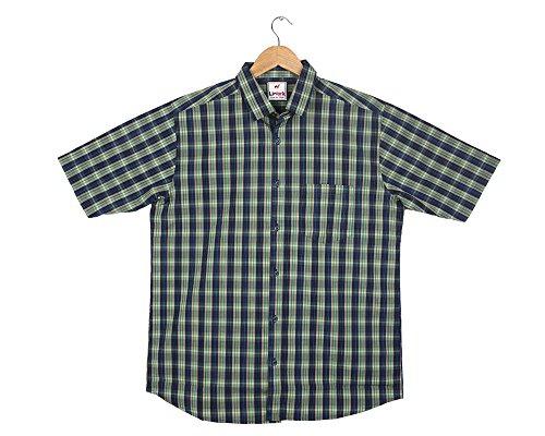 Liwork Men'S Green Rich Cotton Half Sleeve Shirts