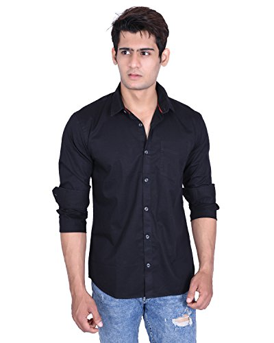 Roller Fashions Men Black Solid Slim Fit Cotton Casual Shirt
