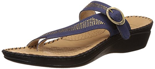 Dr. Scholls Women's Alice Toe Ring Blue Leather Slippers – 3 UK/India (36 EU)(6749932)