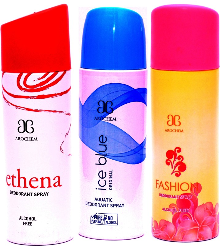 Arochem Combo Ethena Ice Blue Fashion Deodorant Spray  –  For Men & Women(600 ml, Pack of 3)