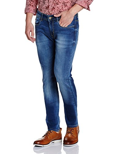Peter England Men's Skinny Fit Jeans (8907609338317_EDN31704524_38W X 33L_Dark Blue with Blue)