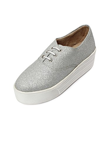 Meriggiare Women Silver Synthetic Leather Sneakers 36 Eu