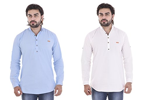 MR.KAMEEJ BLUE WHITE SOLID PLAIN COTTON CASUAL SHIRT COMBO54