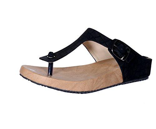 Indistar Girls Stylish and Super Comfortable Black Flat/Sandal-Size-7